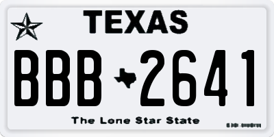 TX license plate BBB2641