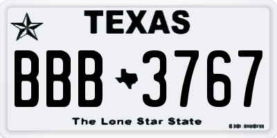 TX license plate BBB3767