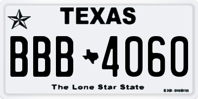 TX license plate BBB4060
