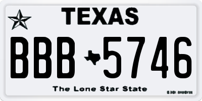 TX license plate BBB5746