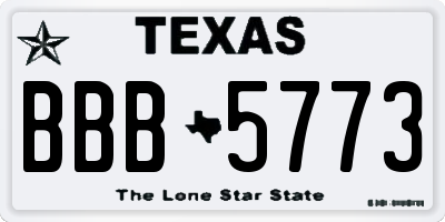 TX license plate BBB5773