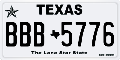 TX license plate BBB5776
