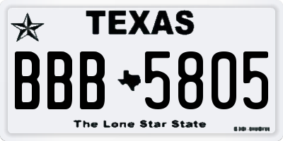 TX license plate BBB5805