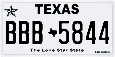 TX license plate BBB5844