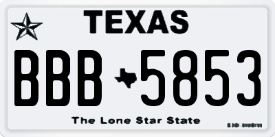 TX license plate BBB5853