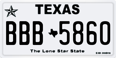 TX license plate BBB5860
