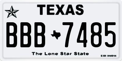 TX license plate BBB7485