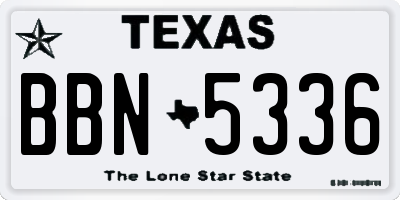 TX license plate BBN5336