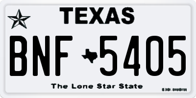 TX license plate BNF5405