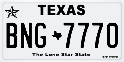 TX license plate BNG7770