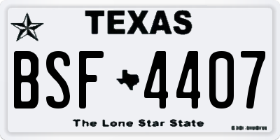 TX license plate BSF4407