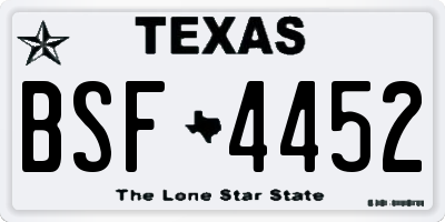TX license plate BSF4452