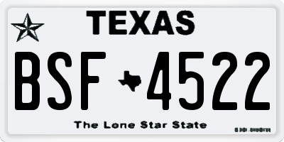 TX license plate BSF4522