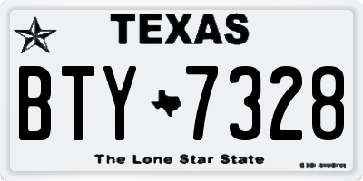 TX license plate BTY7328