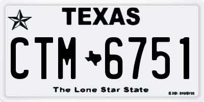 TX license plate CTM6751