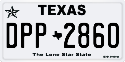 TX license plate DPP2860