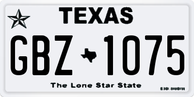 TX license plate GBZ1075