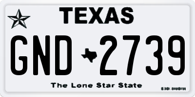 TX license plate GND2739