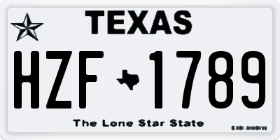 TX license plate HZF1789
