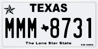 TX license plate MMM8731