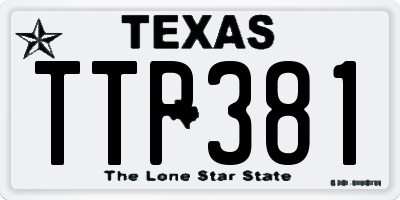 TX license plate TTP381