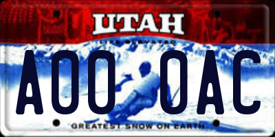 UT license plate A000AC