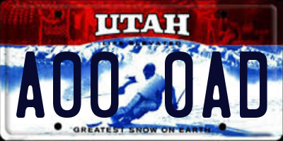 UT license plate A000AD