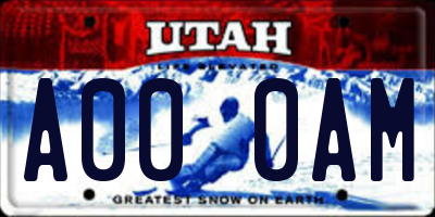 UT license plate A000AM