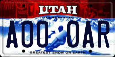 UT license plate A000AR
