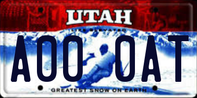 UT license plate A000AT