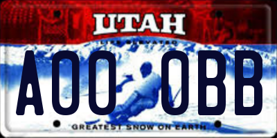 UT license plate A000BB