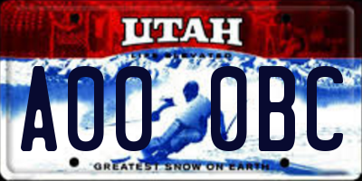 UT license plate A000BC
