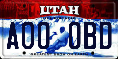 UT license plate A000BD