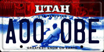 UT license plate A000BE