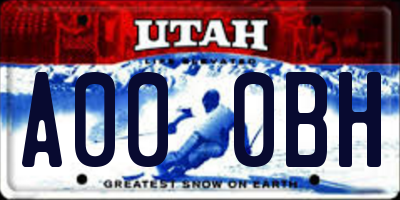 UT license plate A000BH