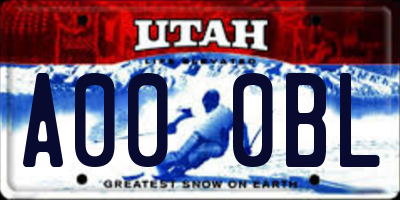 UT license plate A000BL