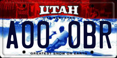 UT license plate A000BR