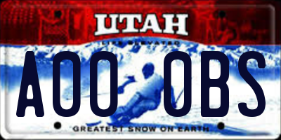UT license plate A000BS