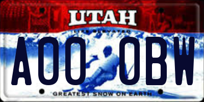 UT license plate A000BW