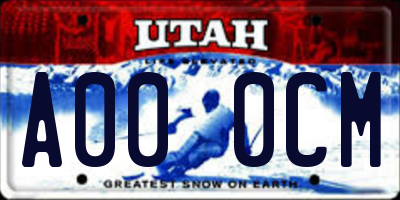 UT license plate A000CM