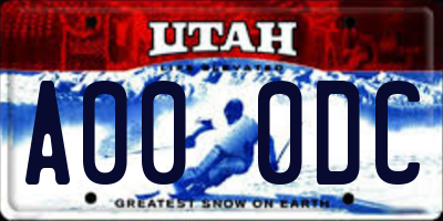 UT license plate A000DC