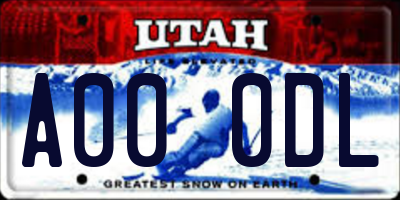 UT license plate A000DL