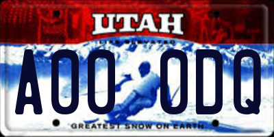 UT license plate A000DQ