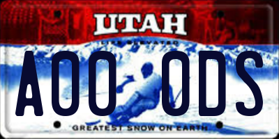 UT license plate A000DS
