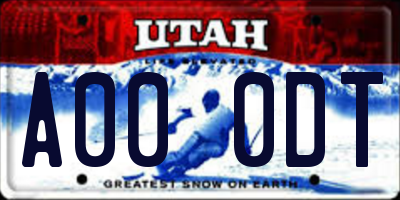 UT license plate A000DT