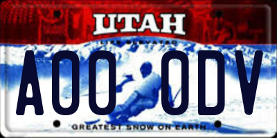 UT license plate A000DV