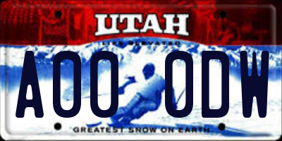UT license plate A000DW