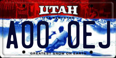 UT license plate A000EJ