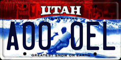 UT license plate A000EL
