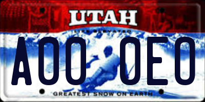 UT license plate A000EO